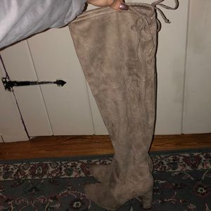 Taupe Suede Thigh High Boots